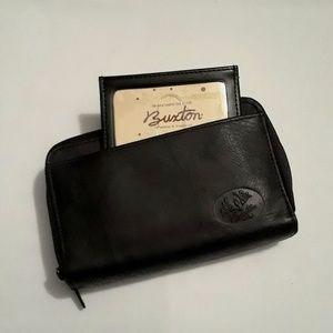 BUXTON Heiress Double Zip Black Leather Wallet